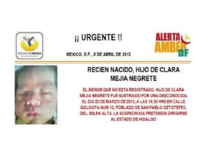 bebé robado a Clara Mejía en Milpa Alta